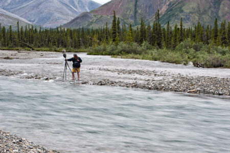 Matthew recording on the Yukon's upper Wind River.