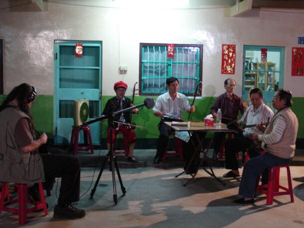 Matthew recording traditional Hakka musicians in Taiwan.