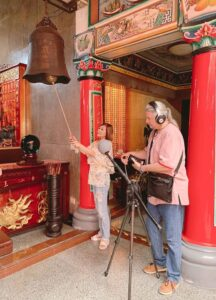 Matthew records temple sounds for The Romantic Route Three.