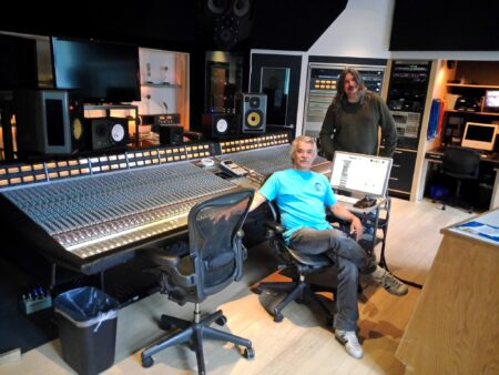 Matthew and engineer Mike Harris